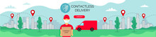 Safe Delivery Service. Long Horizontal  Banner Food Online Order. A Courier In Red Clothes Against The Background Of The City, Brought An Order To The House. Vector Illustration For Your Business.