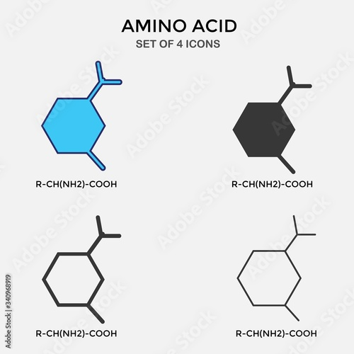 amino acid carbon chain vector icon organic chemistry icon Canvas Print