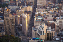 Aerial View Of Manhattan Including Architectural Landmark Flatiron Building In New York City, United States Of America.