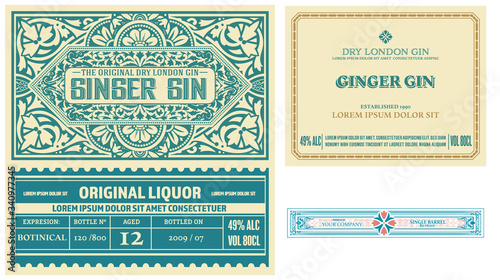 Set of full Vintage Gin Labels. Vector layered Poster Mural XXL