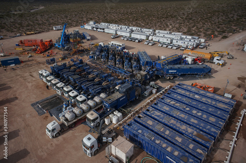 Vaca Muerta, Argentina, November 23, 2015: Extraction of unconventional oil Canvas Print