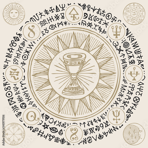 Vector illustration with Grail, alchemical and masonic symbols in retro style фототапет