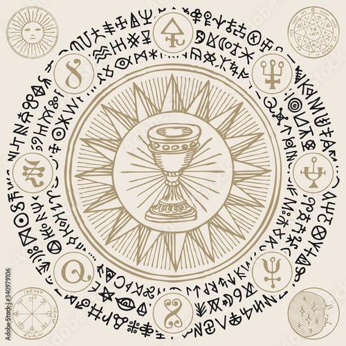 Fototapeta Vector illustration with Grail, alchemical and masonic symbols in retro style