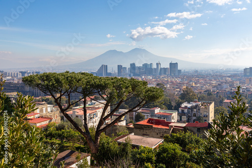 Fotografie, Tablou Naples (Italy) - View of Naples and Vesuvio from Salita Moiariello, on the Capod