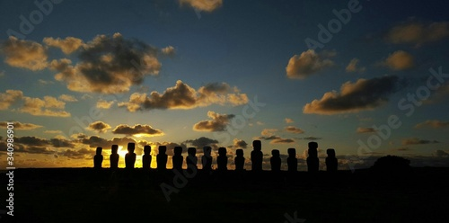 Silhouette Of Ahu Tongariki During Sunset In Easter Island Canvas Print