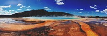 Panoramic View Of Thermal Pool At Yellowstone National Park