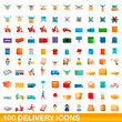 100 delivery icons set. Cartoon illustration of 100 delivery icons vector set isolated on white background