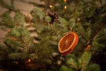 Decoration Of A Slice Of Dry Orange On A New Year Tree