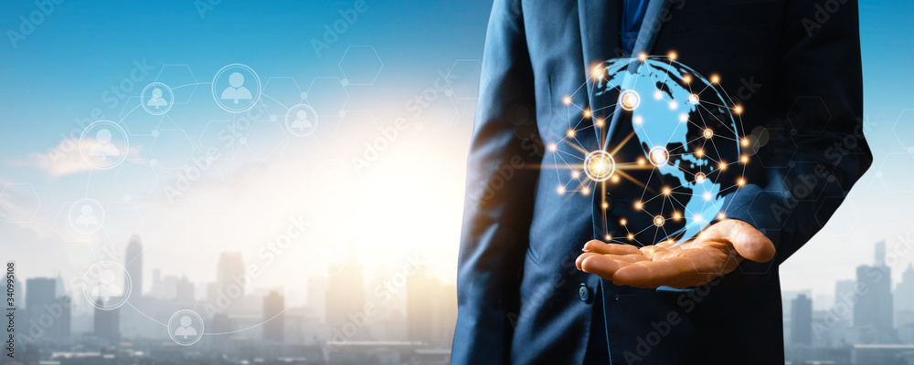 Fototapeta global social network and connection internet on abstract data worldwide  cyberspace concept, close up hand of businessman holding wireless networking earth connect with people by 5G technology
