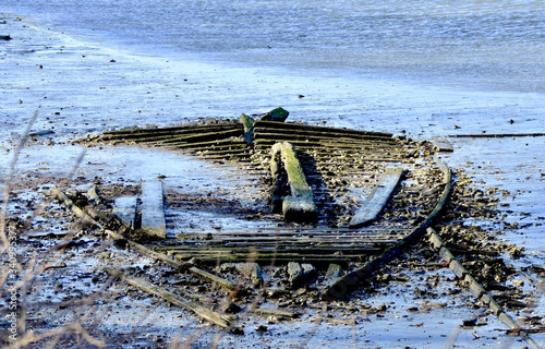 Fotografie, Obraz Low tide reveals the bones of an old sailboat that was scuttled a hundred years ago in the waters of Setauket Harbor on Long Island, NY