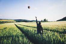 Rear View Of Man Throwing Hat In Mid-air While Standing On Agricultural Field Against Clear Sky