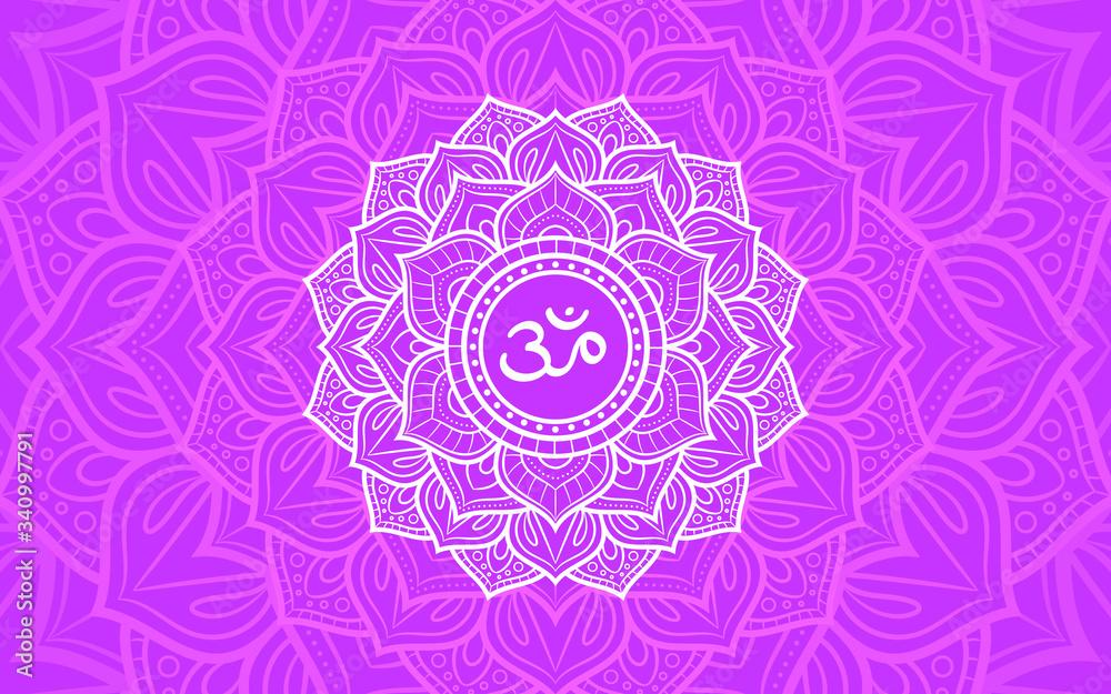 Fototapeta Sahasrara, crown chakra symbol. Colorful mandala. Vector illustration