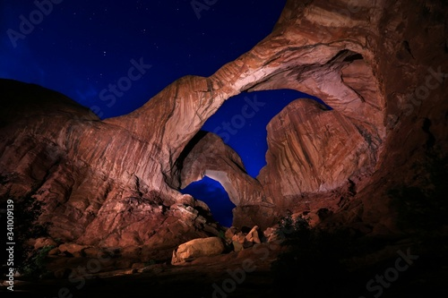 Valokuvatapetti Low Angle View Of Double Arch At Arches National Park