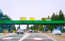 Cars At Toll Booth On Road In ...