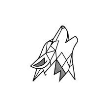 Wolf Logo Vector Line Art Monocrome