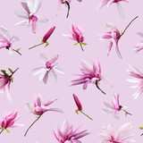 Floral seamless pattern. Magnolia flowers on pink background. Can be used for wallpaper design, packaging, textile, decorative print.