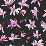 Floral seamless pattern. Pink magnolia flowers on dark grey background. Can be used for wallpaper design, packaging, textile, decorative print.