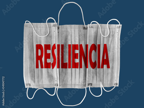 Mascarillas de protección de color balnco sobre fondo azul con la palabra resiliencia en color azul Canvas Print