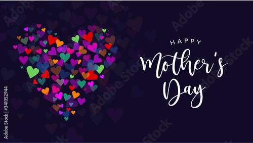 Fototapeta Happy Mother's Day Vector Calligraphy with Colorful Hearts Illustration obraz