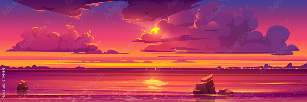 Fototapeta Sunset in ocean, pink clouds in sky with shining sun above sea with rocks sticking up of water and city lights on opposite shore, nature landscape background, evening view. Cartoon vector illustration