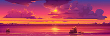 Sunset In Ocean, Pink Clouds In Sky With Shining Sun Above Sea With Rocks Sticking Up Of Water And City Lights On Opposite Shore, Nature Landscape Background, Evening View. Cartoon Vector Illustration