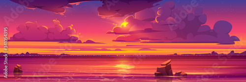 Obraz Sunset in ocean, pink clouds in sky with shining sun above sea with rocks sticking up of water and city lights on opposite shore, nature landscape background, evening view. Cartoon vector illustration - fototapety do salonu