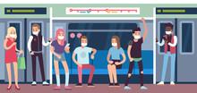 People In Masks In Subway. Und...