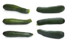 Set Of Fresh Ripe Zucchinis On...