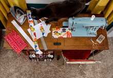 Sewing Machine Top Down View -...