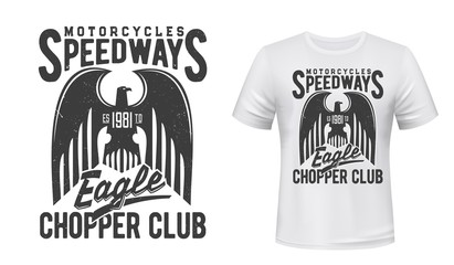 Eagle t-shirt print vector mockup of motorcycle racing and moto sport design. Black heraldic bird with spread wings, motorsport club custom apparel with eagle, hawk or falcon and letterings