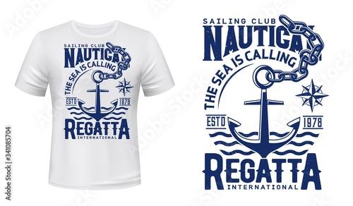 Foto Nautical anchor t-shirt print of yacht club regatta and sailing sport