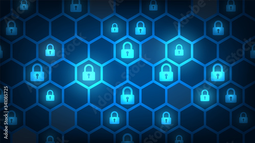 Photo Cyber technology security, network protection background design, vector illustra