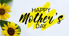 Mother's Day Sunflowers On Whi...