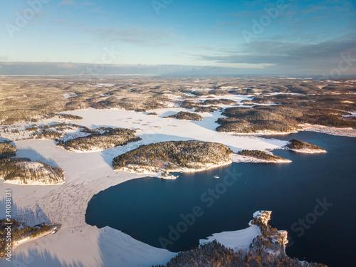 Vászonkép Ladoga lake cool frosty islands