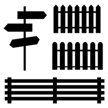 Black Elements Of Fences And P...