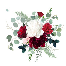 Classic Red Roses, White And Burgundy Peony, Pink Hydrangea