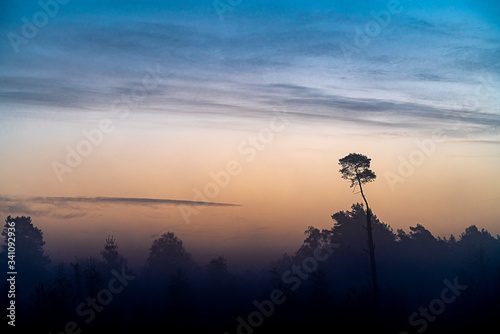 Scenic View Of Silhouette Landscape Against Sky During Sunset - fototapety na wymiar