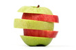 sliced red and green apple on white ground