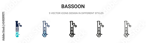 Bassoon icon in filled, thin line, outline and stroke style Wallpaper Mural