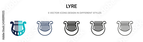 Lyre icon in filled, thin line, outline and stroke style Canvas Print