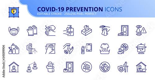 Simple set of outline icons about Coronavirus prevention. Slika na platnu
