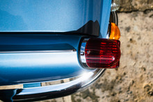 Taillight Of A Classic Blue Tr...