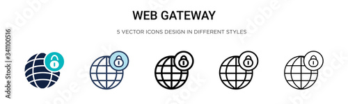 Web gateway icon in filled, thin line, outline and stroke style Canvas Print