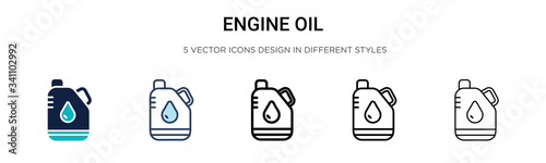 Fototapeta Engine oil icon in filled, thin line, outline and stroke style. Vector illustration of two colored and black engine oil vector icons designs can be used for mobile, ui, obraz