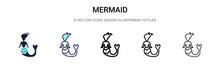 Mermaid Icon In Filled, Thin Line, Outline And Stroke Style. Vector Illustration Of Two Colored And Black Mermaid Vector Icons Designs Can Be Used For Mobile, Ui,