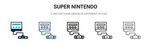 Super Nintendo Icon In Filled, Thin Line, Outline And Stroke Style. Vector Illustration Of Two Colored And Black Super Nintendo Vector Icons Designs Can Be Used For Mobile, Ui,