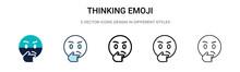 Thinking Emoji Icon In Filled,...