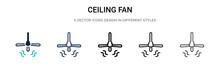 Ceiling Fan Icon In Filled, Th...