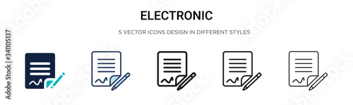 Electronic signature icon in filled, thin line, outline and stroke style. Vector illustration of two colored and black electronic signature vector icons designs can be used for mobile, ui,