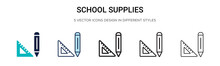 School Supplies Icon In Filled...